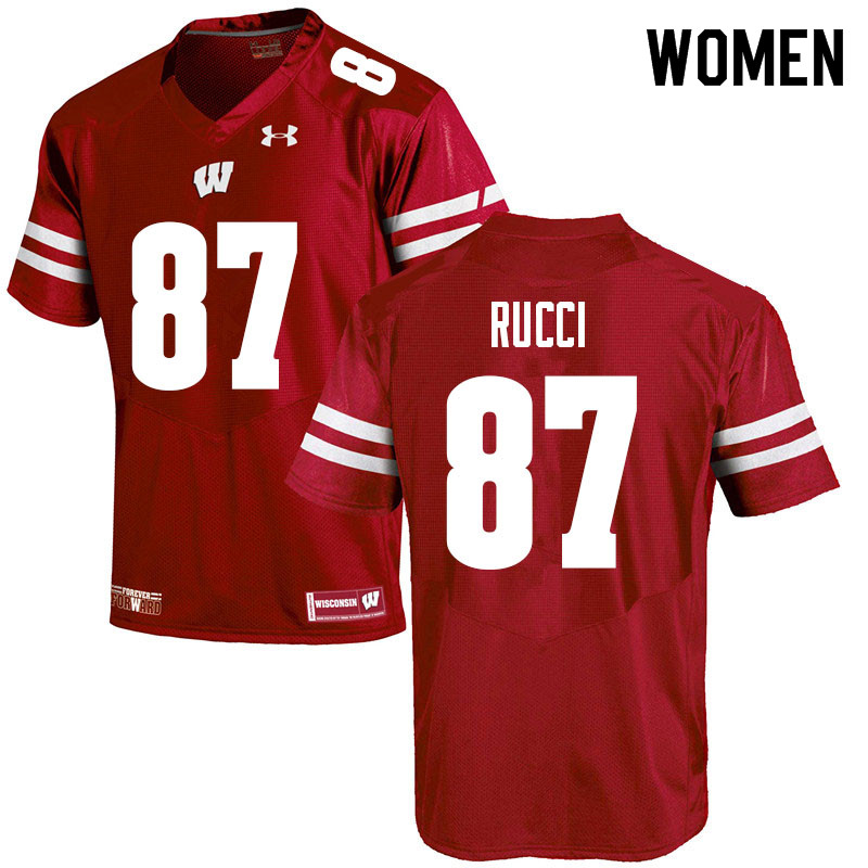 Women #87 Hayden Rucci Wisconsin Badgers College Football Jerseys Sale-Red