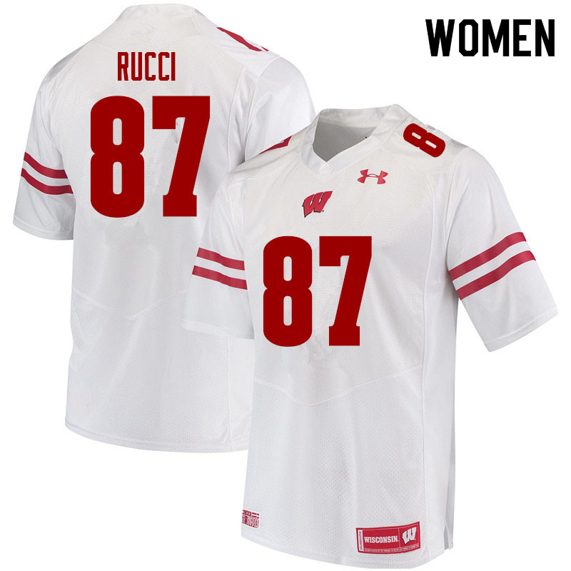 Women #87 Hayden Rucci Wisconsin Badgers College Football Jerseys Sale-White
