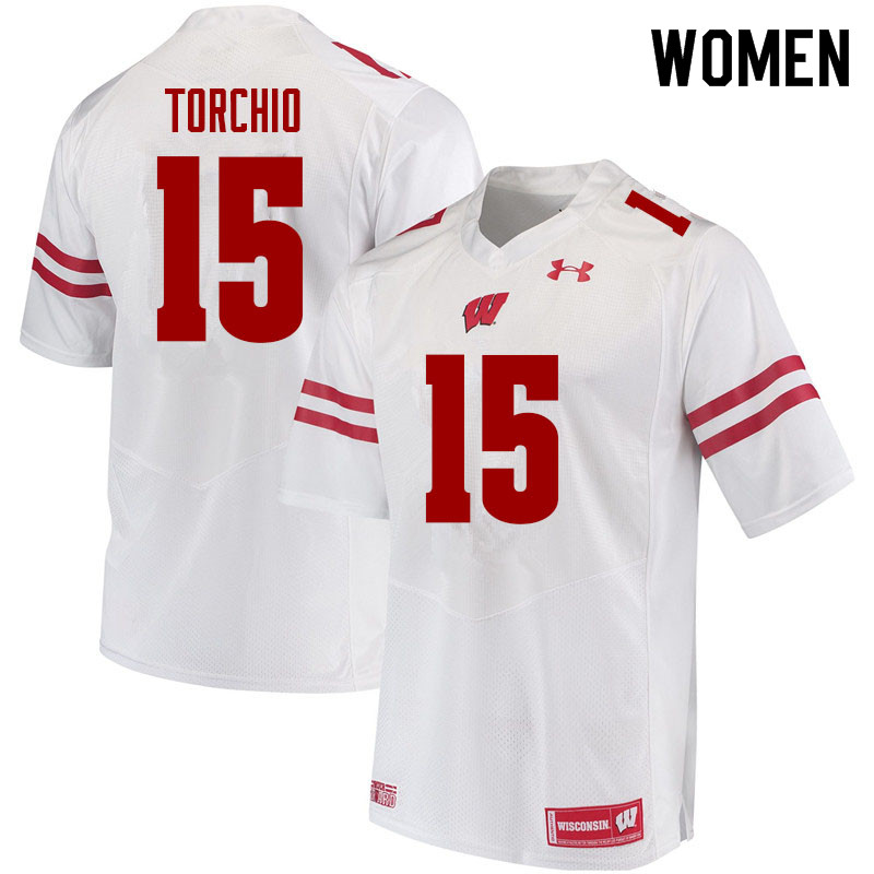 Women #15 John Torchio Wisconsin Badgers College Football Jerseys Sale-White