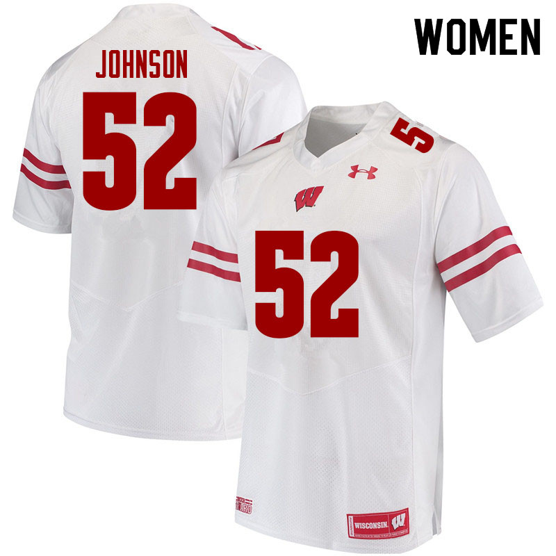 Women #52 Kaden Johnson Wisconsin Badgers College Football Jerseys Sale-White