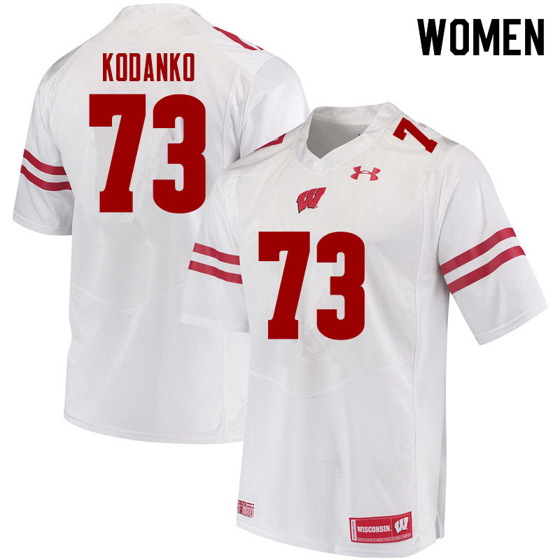 Women #73 Kerry Kodanko Wisconsin Badgers College Football Jerseys Sale-White