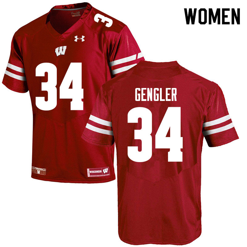 Women #34 Ross Gengler Wisconsin Badgers College Football Jerseys Sale-Red