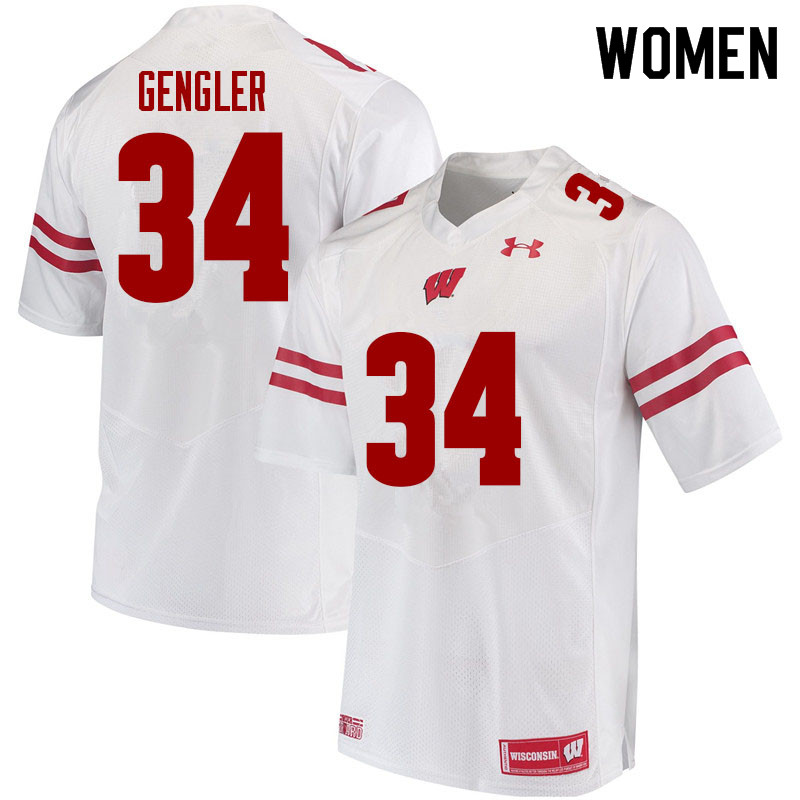 Women #34 Ross Gengler Wisconsin Badgers College Football Jerseys Sale-White