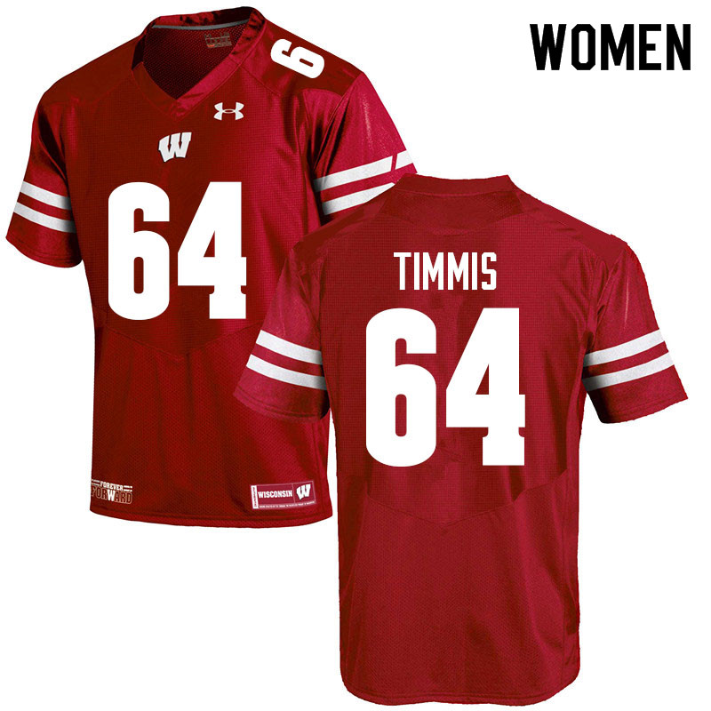 Women #64 Sean Timmis Wisconsin Badgers College Football Jerseys Sale-Red