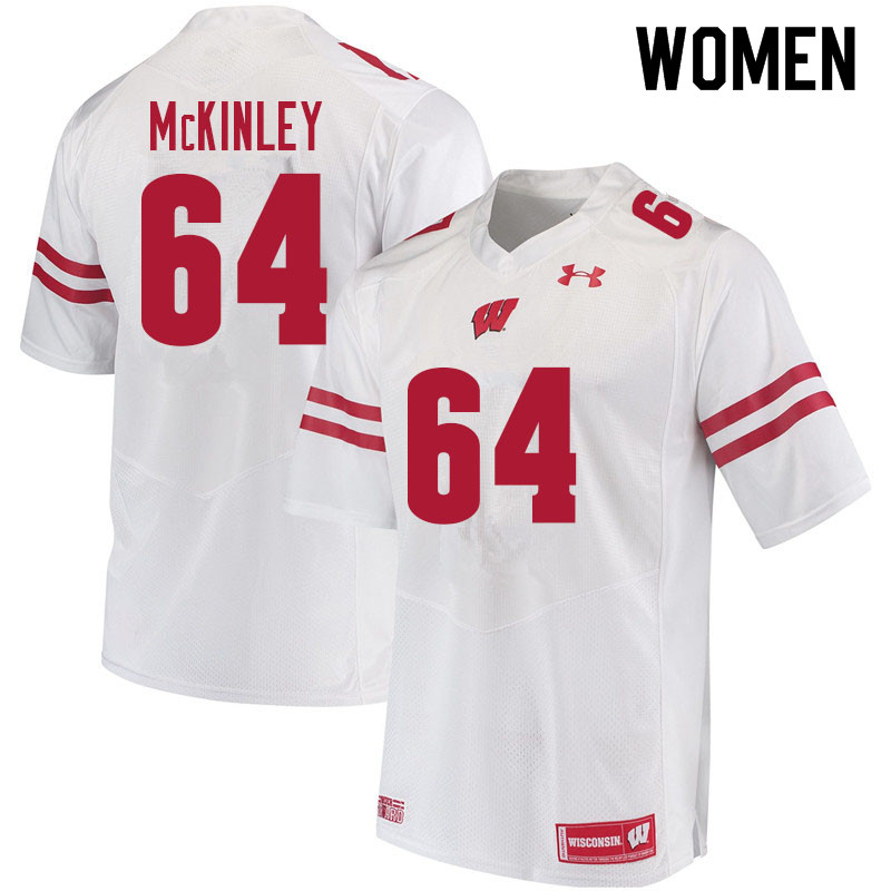 Women #64 Duncan McKinley Wisconsin Badgers College Football Jerseys Sale-White