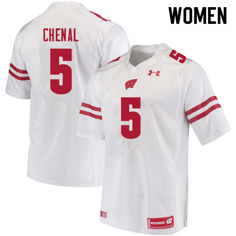Women #5 Leo Chenal Wisconsin Badgers College Football Jerseys Sale-White