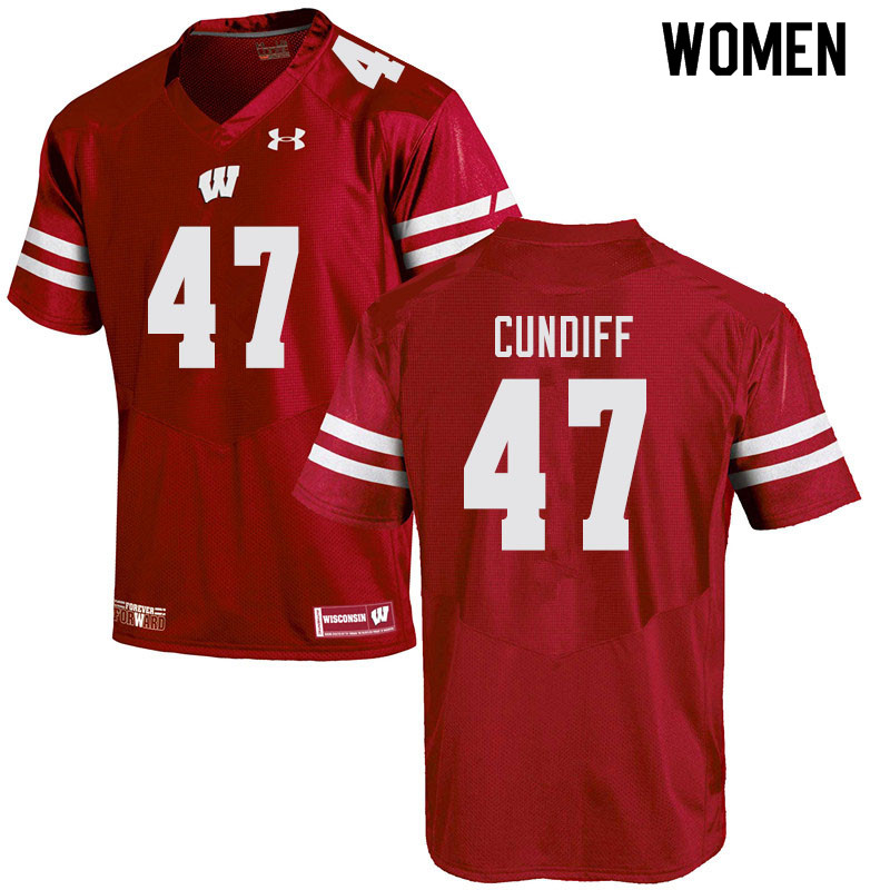 Women #47 Clay Cundiff Wisconsin Badgers College Football Jerseys Sale-Red