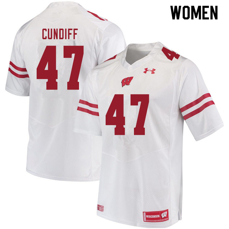 Women #47 Clay Cundiff Wisconsin Badgers College Football Jerseys Sale-White