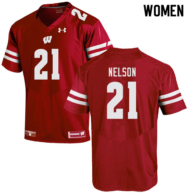 Women #21 Cooper Nelson Wisconsin Badgers College Football Jerseys Sale-Red