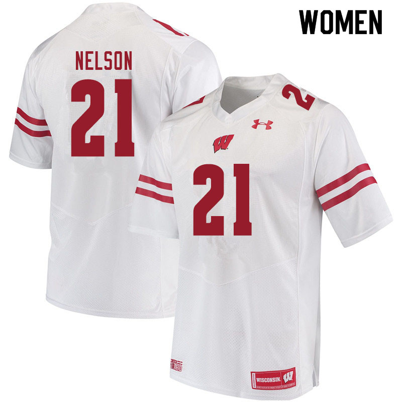 Women #21 Cooper Nelson Wisconsin Badgers College Football Jerseys Sale-White