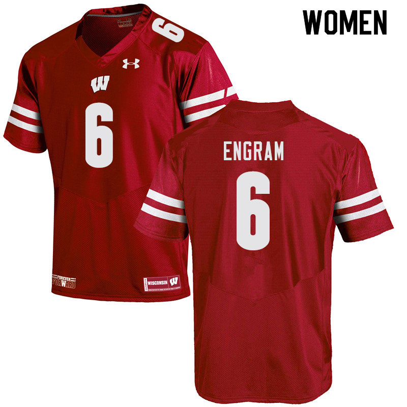 Women #6 Dean Engram Wisconsin Badgers College Football Jerseys Sale-Red