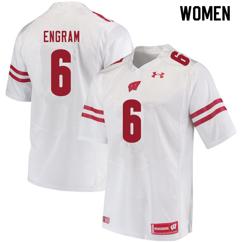Women #6 Dean Engram Wisconsin Badgers College Football Jerseys Sale-White