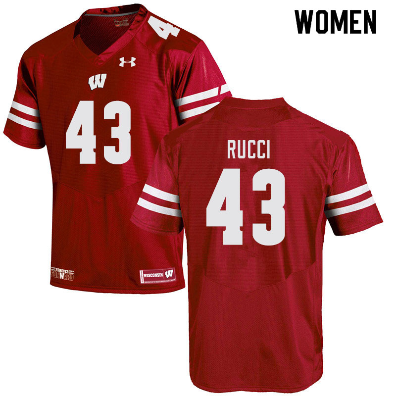 Women #43 Hayden Rucci Wisconsin Badgers College Football Jerseys Sale-Red
