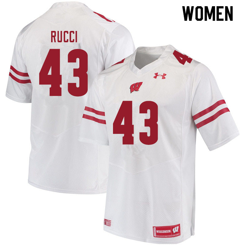 Women #43 Hayden Rucci Wisconsin Badgers College Football Jerseys Sale-White