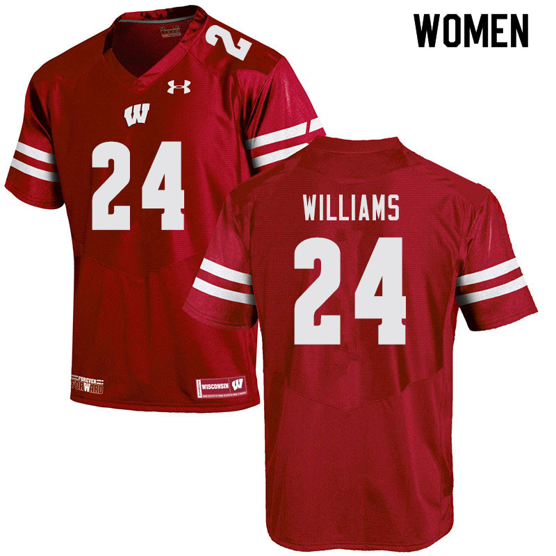Women #24 James Williams Wisconsin Badgers College Football Jerseys Sale-Red