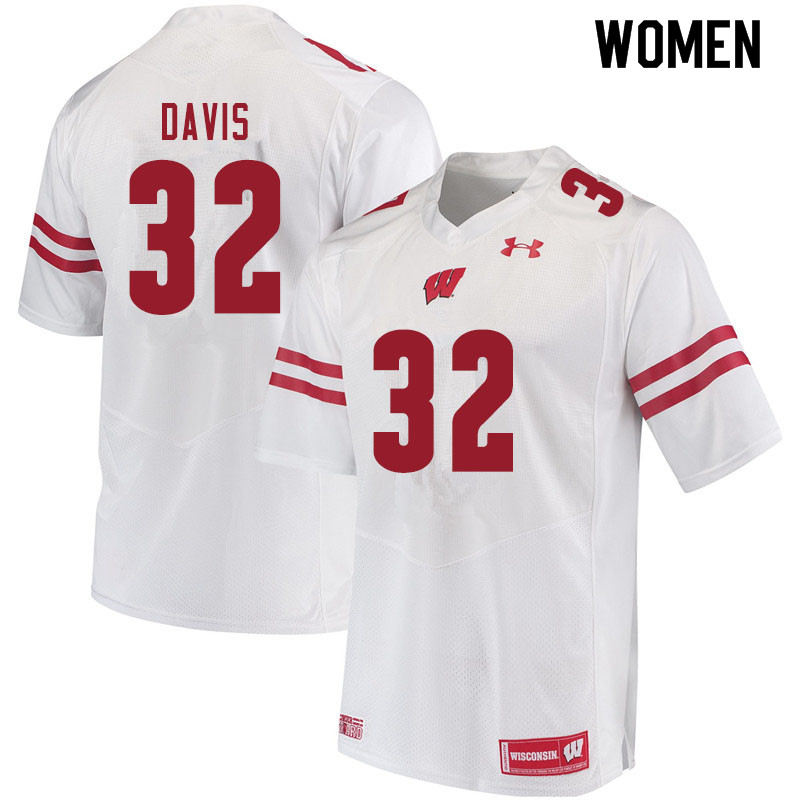 Women #32 Julius Davis Wisconsin Badgers College Football Jerseys Sale-White