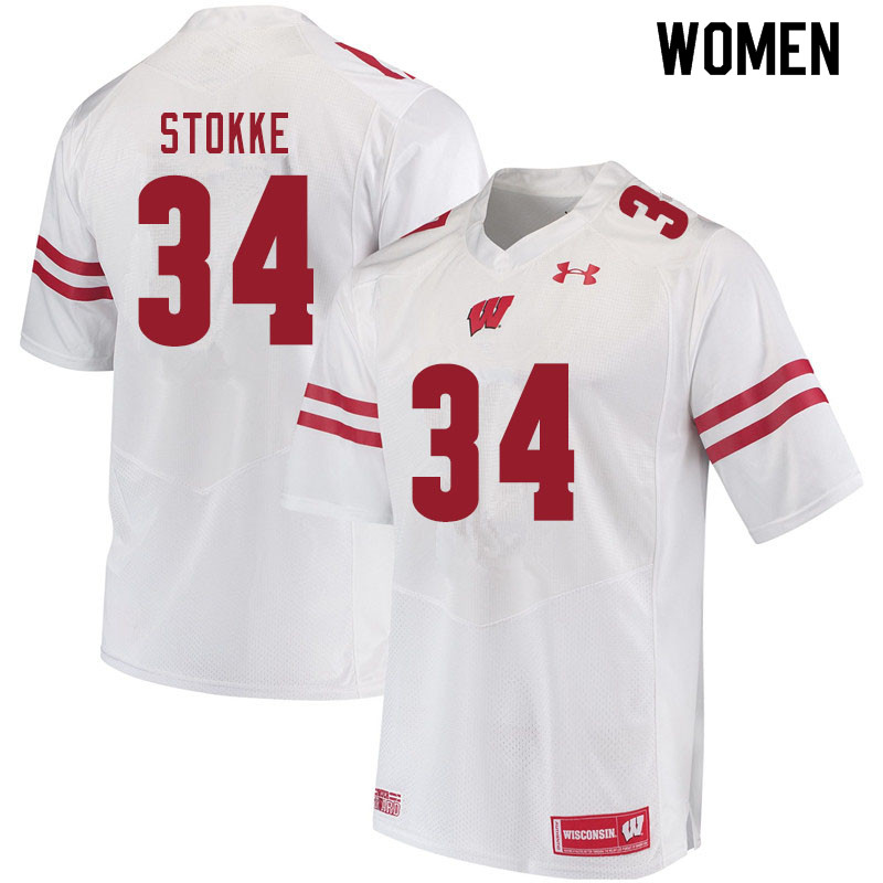 Women #34 Mason Stokke Wisconsin Badgers College Football Jerseys Sale-White
