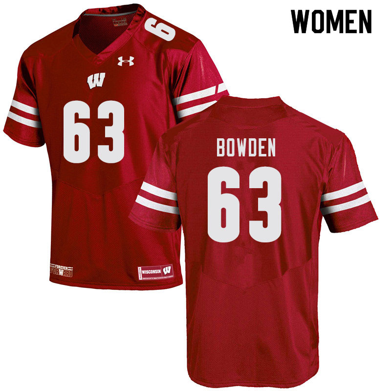 Women #63 Peter Bowden Wisconsin Badgers College Football Jerseys Sale-Red