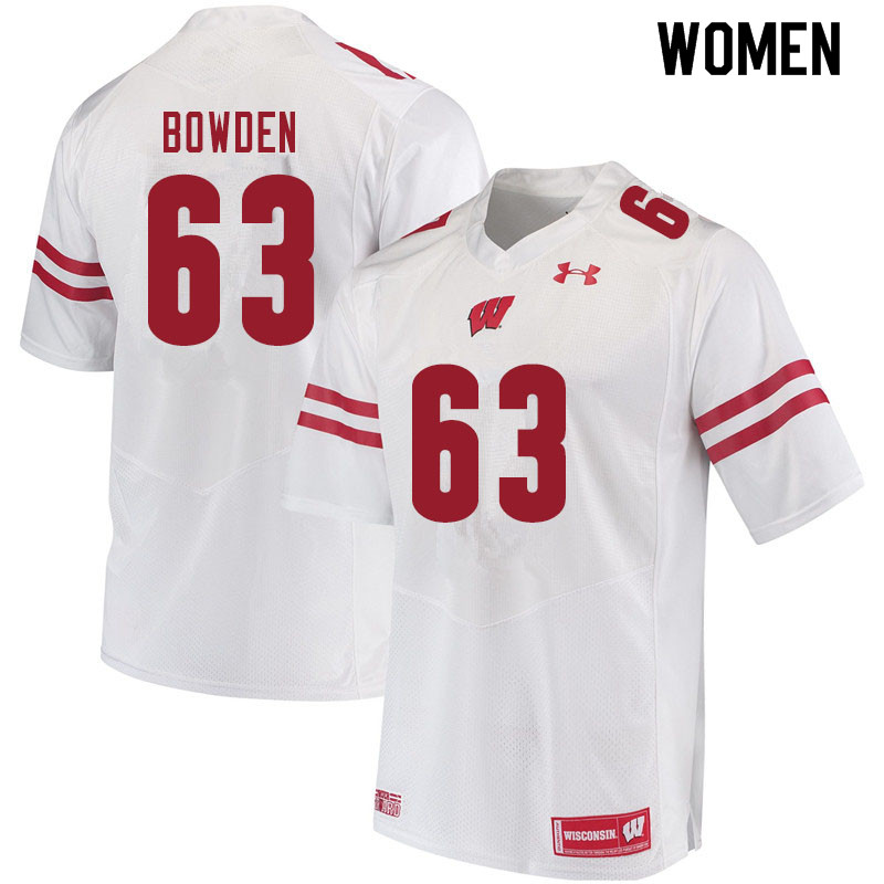 Women #63 Peter Bowden Wisconsin Badgers College Football Jerseys Sale-White