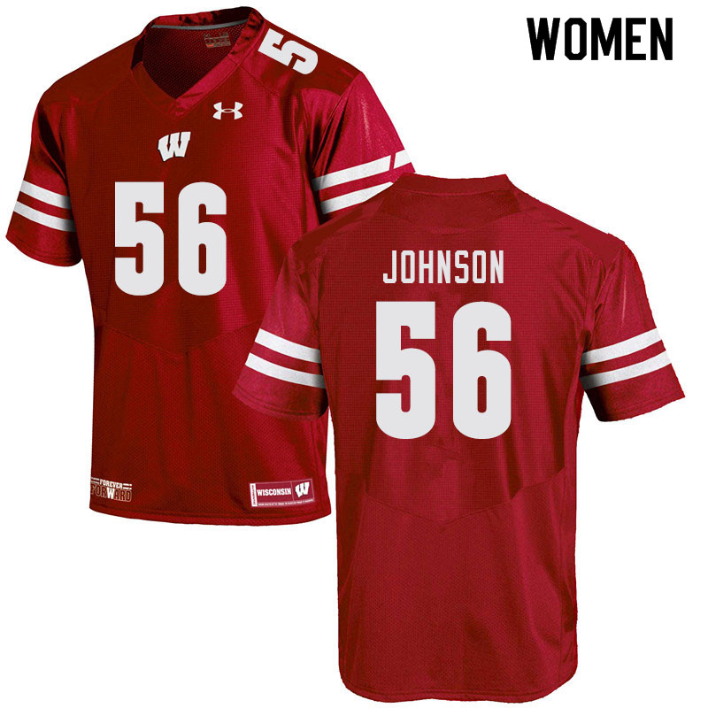 Women #56 Rodas Johnson Wisconsin Badgers College Football Jerseys Sale-Red