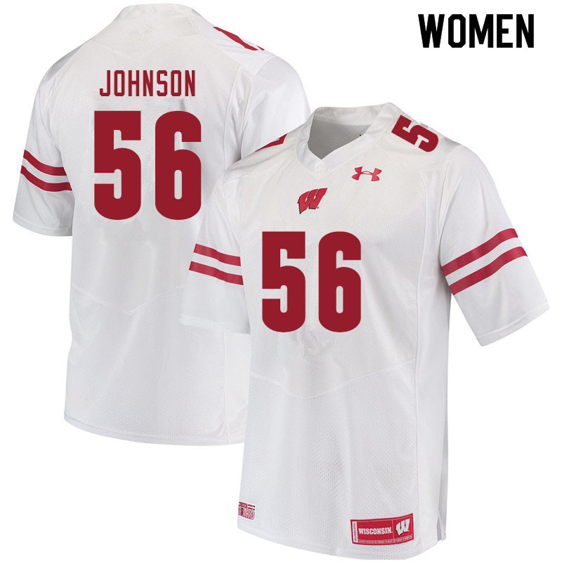 Women #56 Rodas Johnson Wisconsin Badgers College Football Jerseys Sale-White