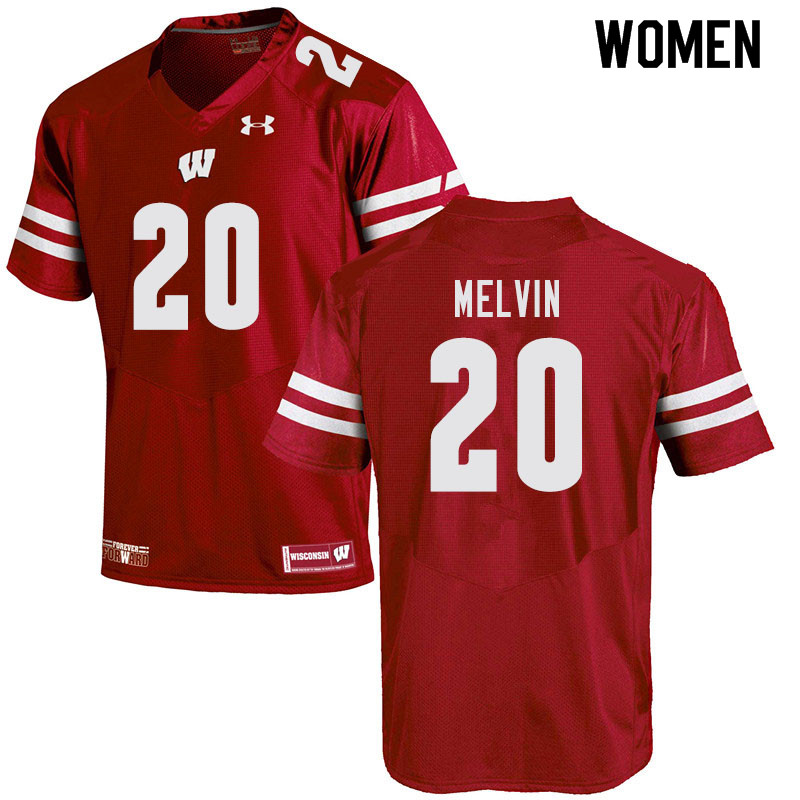 Women #20 Semar Melvin Wisconsin Badgers College Football Jerseys Sale-Red