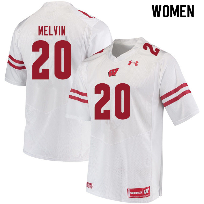Women #20 Semar Melvin Wisconsin Badgers College Football Jerseys Sale-White