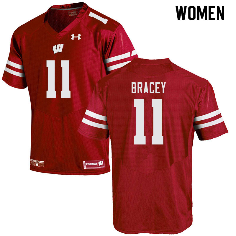 Women #11 Stephan Bracey Wisconsin Badgers College Football Jerseys Sale-Red