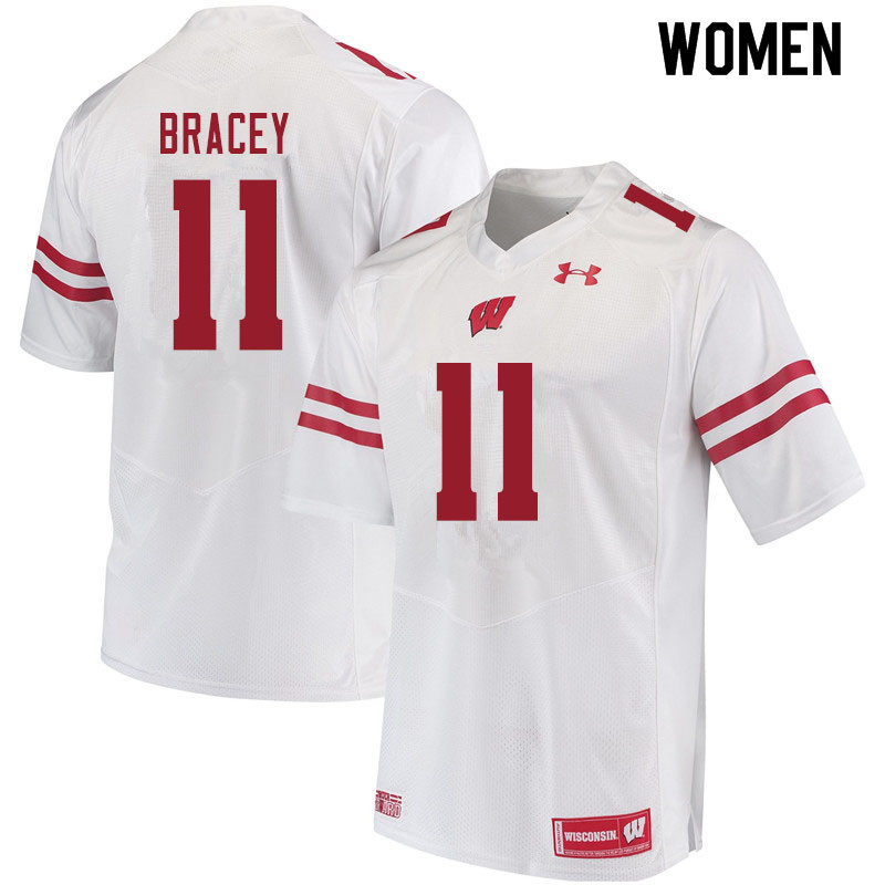 Women #11 Stephan Bracey Wisconsin Badgers College Football Jerseys Sale-White
