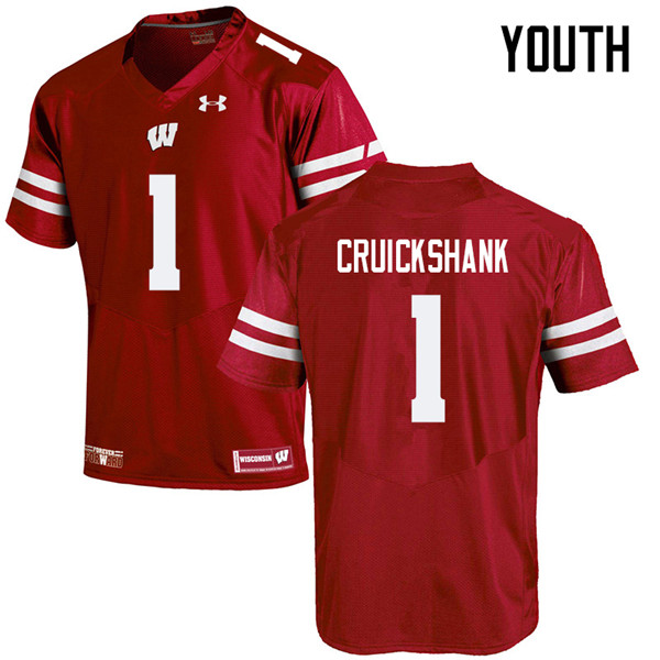 Youth #1 Aron Cruickshank Wisconsin Badgers College Football Jerseys Sale-Red