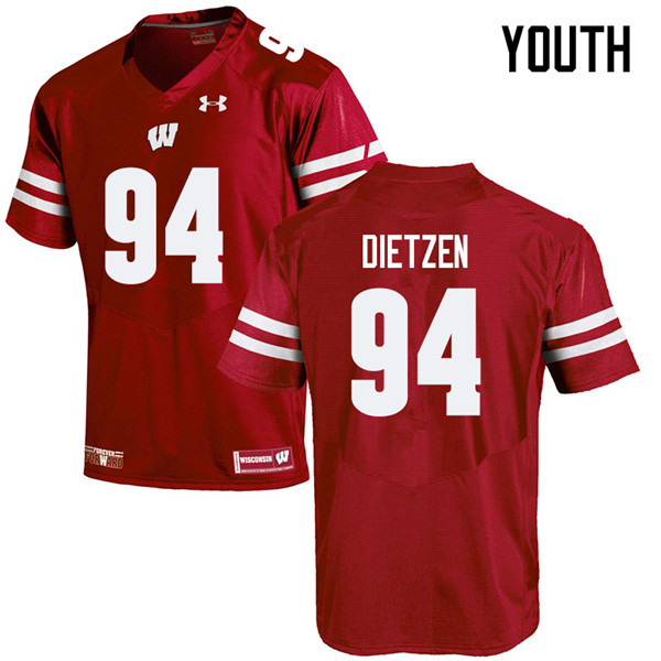Youth #94 Boyd Dietzen Wisconsin Badgers College Football Jerseys Sale-Red