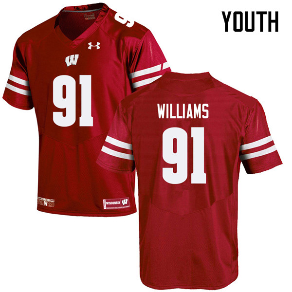 Youth #91 Bryson Williams Wisconsin Badgers College Football Jerseys Sale-Red