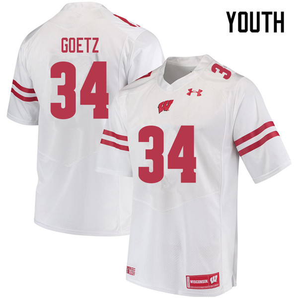 Youth #34 C.J. Goetz Wisconsin Badgers College Football Jerseys Sale-White