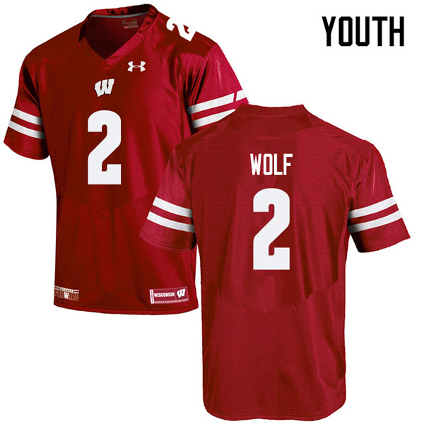 Youth #2 Chase Wolf Wisconsin Badgers College Football Jerseys Sale-Red