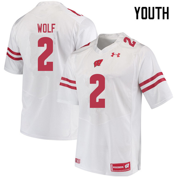 Youth #2 Chase Wolf Wisconsin Badgers College Football Jerseys Sale-White