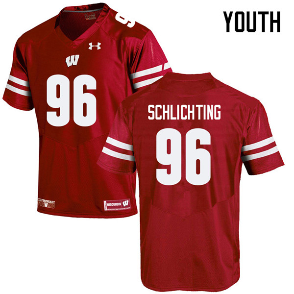 Youth #96 Conor Schlichting Wisconsin Badgers College Football Jerseys Sale-Red