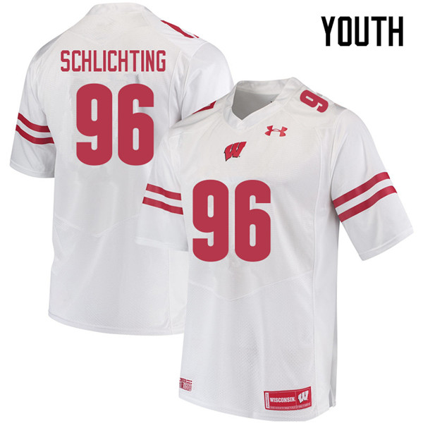 Youth #96 Conor Schlichting Wisconsin Badgers College Football Jerseys Sale-White