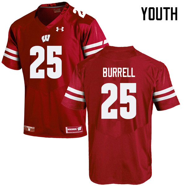 Youth #25 Eric Burrell Wisconsin Badgers College Football Jerseys Sale-Red
