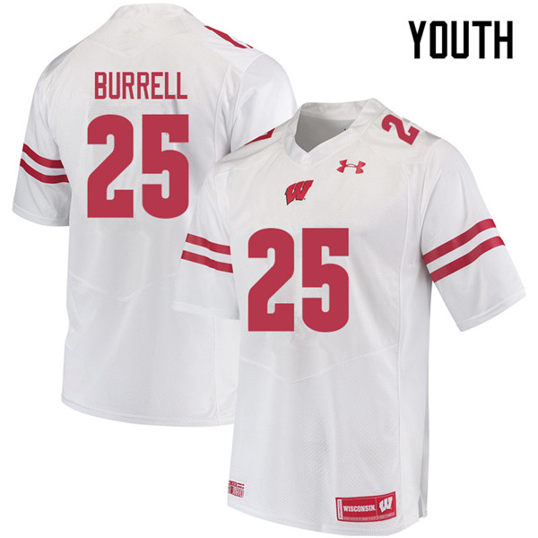 Youth #25 Eric Burrell Wisconsin Badgers College Football Jerseys Sale-White
