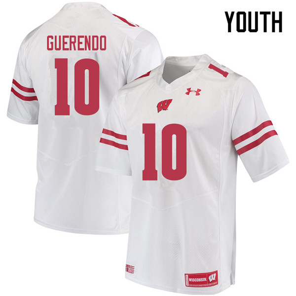 Youth #10 Isaac Guerendo Wisconsin Badgers College Football Jerseys Sale-White