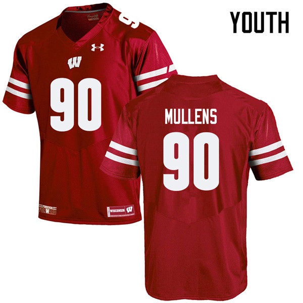 Youth #90 Isaiah Mullens Wisconsin Badgers College Football Jerseys Sale-Red