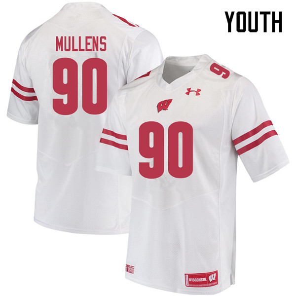 Youth #90 Isaiah Mullens Wisconsin Badgers College Football Jerseys Sale-White
