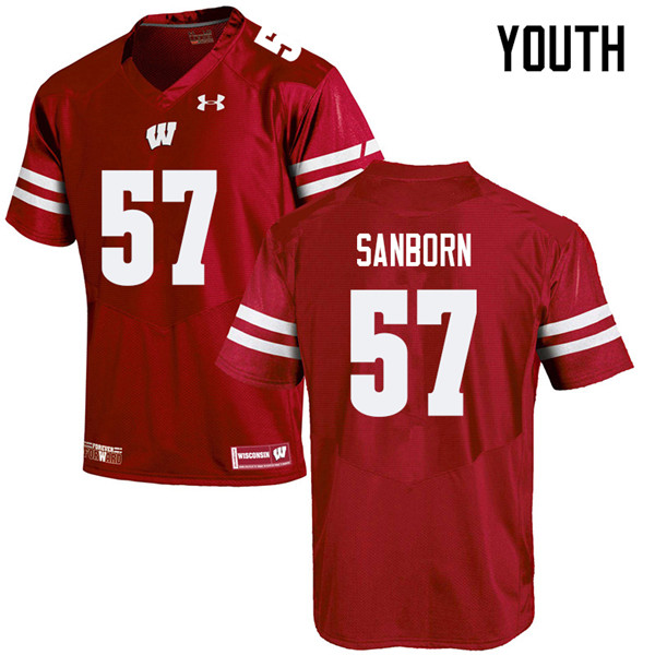 Youth #57 Jack Sanborn Wisconsin Badgers College Football Jerseys Sale-Red