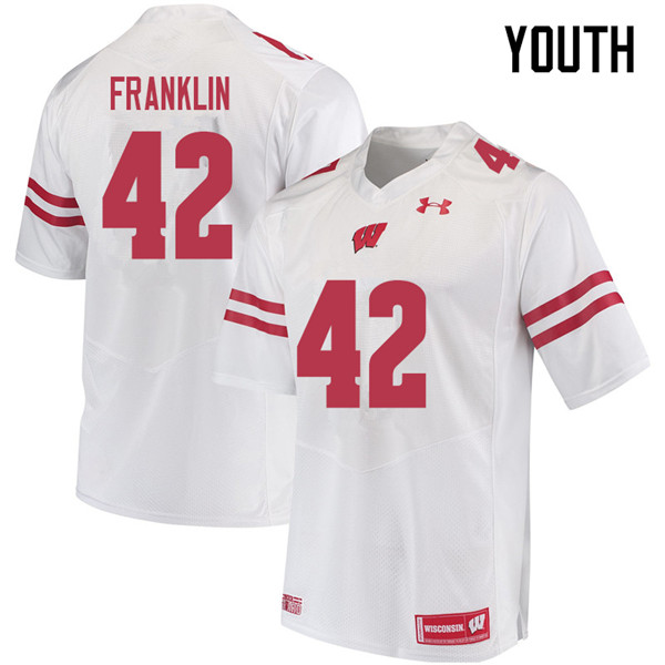 Youth #42 Jaylan Franklin Wisconsin Badgers College Football Jerseys Sale-White