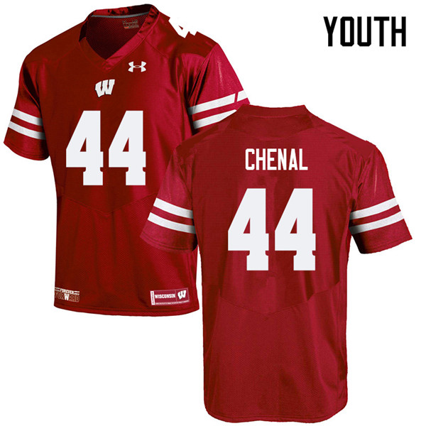 Youth #44 John Chenal Wisconsin Badgers College Football Jerseys Sale-Red