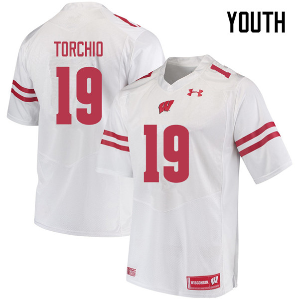 Youth #19 John Torchio Wisconsin Badgers College Football Jerseys Sale-White