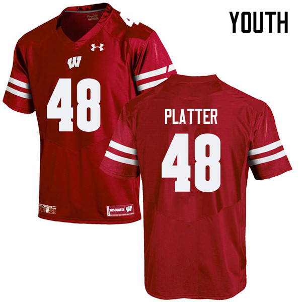 Youth #48 Mason Platter Wisconsin Badgers College Football Jerseys Sale-Red