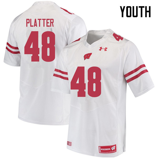 Youth #48 Mason Platter Wisconsin Badgers College Football Jerseys Sale-White