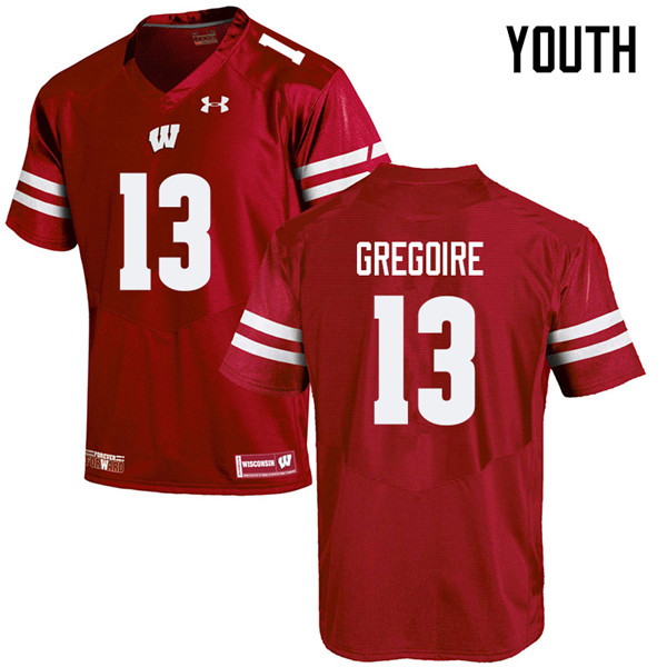 Youth #13 Mike Gregoire Wisconsin Badgers College Football Jerseys Sale-Red