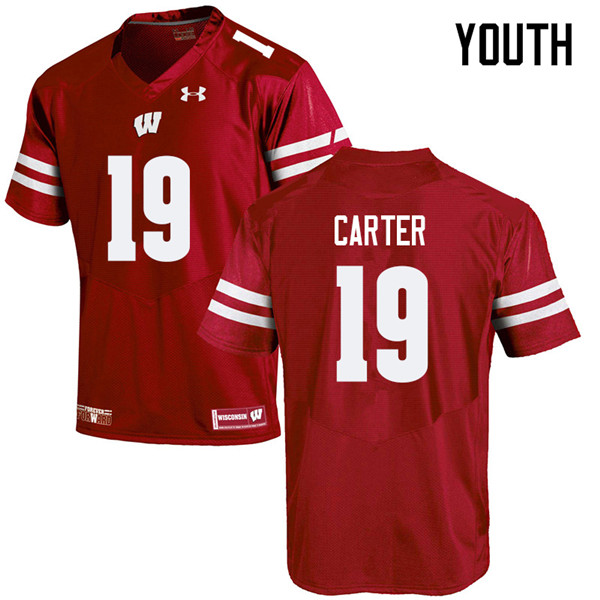 Youth #19 Nate Carter Wisconsin Badgers College Football Jerseys Sale-Red